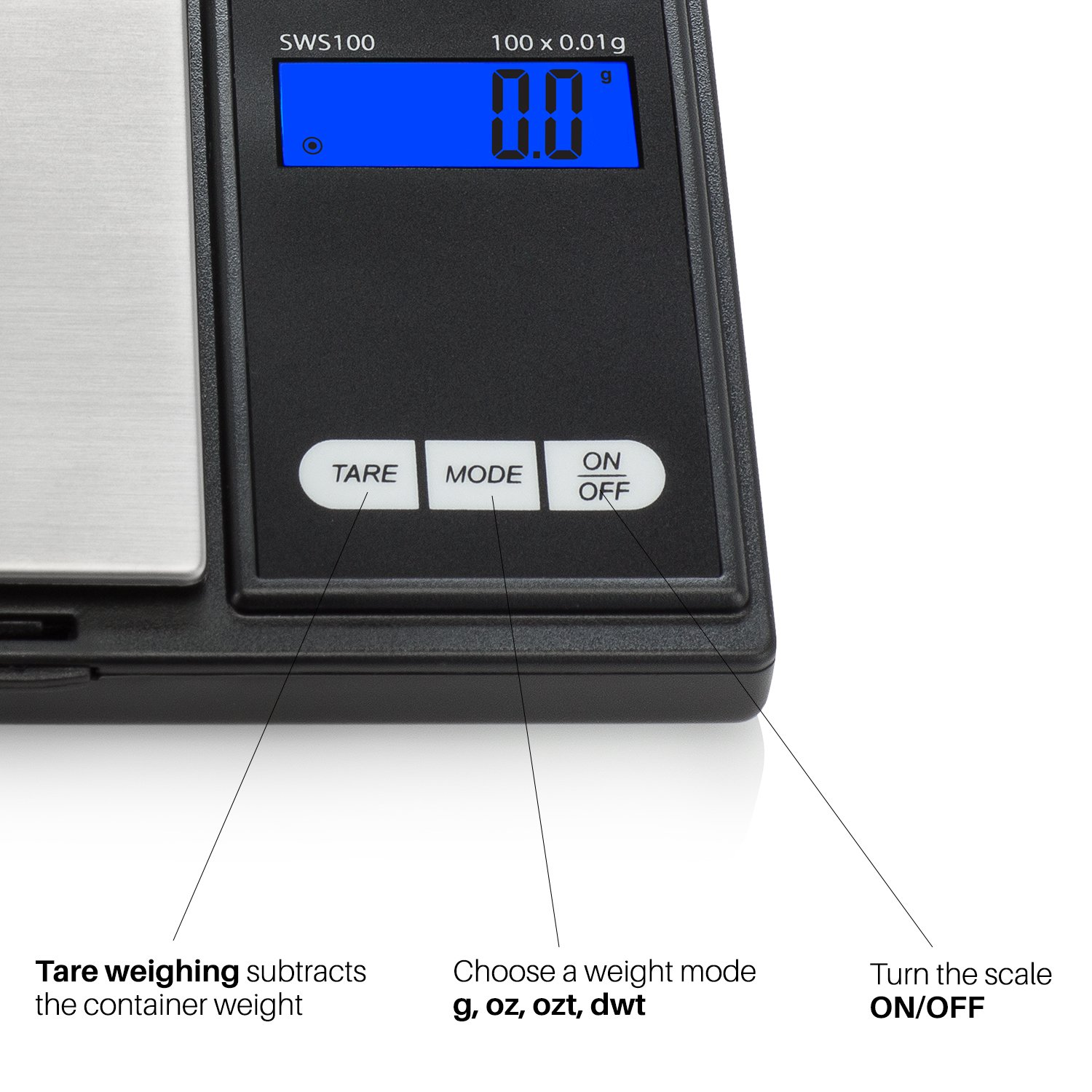 Smart Weigh SWS1KG Elite Series Digital Pocket Scale, 1000 by 0.1gm, Black by Smart Weigh (Image #3)