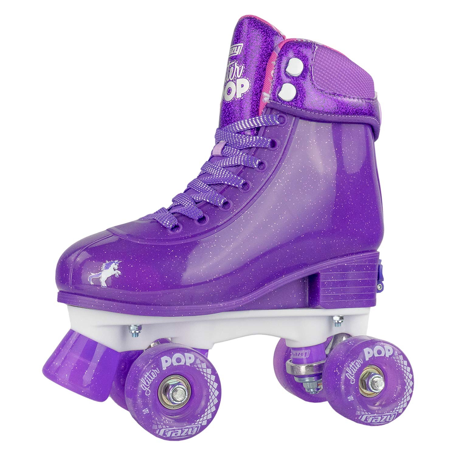 Crazy Skates Glitter POP Adjustable Roller Skates for Girls and Boys | Size Adjustable Quad Skates That Fit 4 Shoe Sizes | Purple (Sizes 3-6) by Crazy Skates (Image #1)