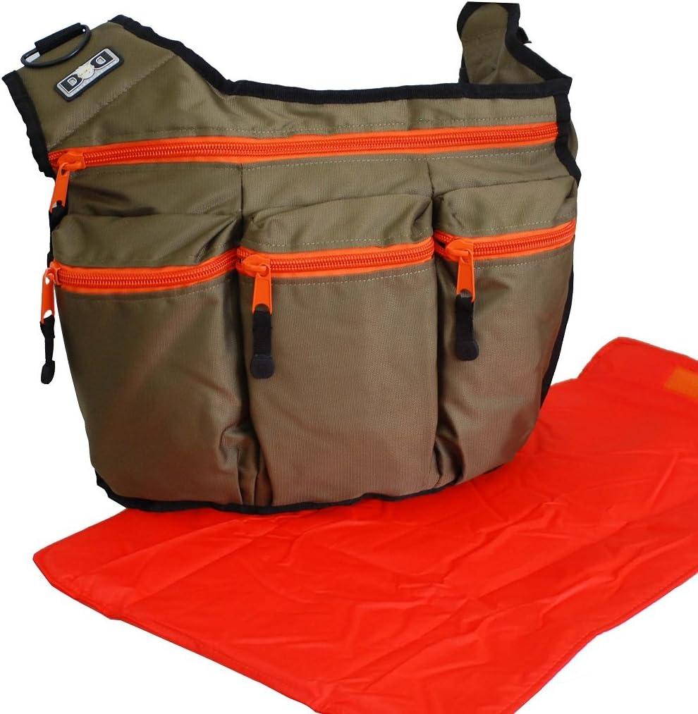 Diaper Dude Original Messenger I Changing Bag Olive//Orange