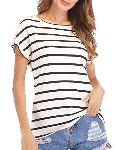 02c56cbdb7a39 Haola Women s Striped Tops Summer Casual Round Neck Short Sleeve Blouse T-Shirt  Black White