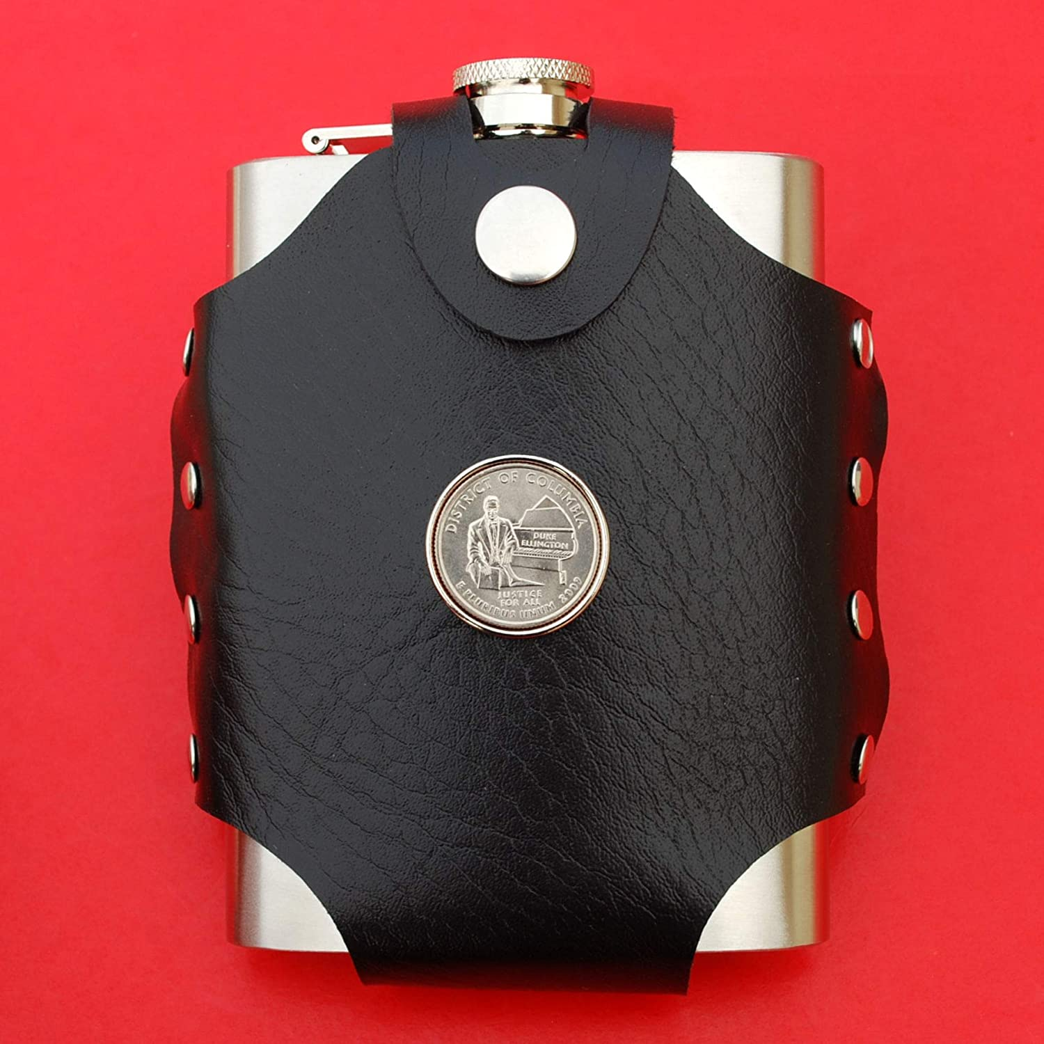 US 2009 District of Columbia Quarter BU Uncirculated Coin Leak Proof Black PU Leather Wrapped Stainless Steel 8 Oz Hip Flask DC /& Territories