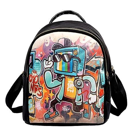 Widewing Mochilas mujer guess Graffiti Print Leather Women Mochilas Mini Shoulder School Handbags (Negro