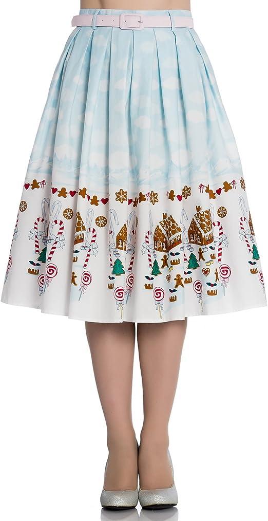 Hell Bunny Gigi Años 50 Navidad Caramelo Falda - Azul, UK 8 (XS ...