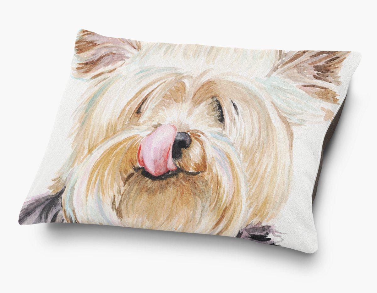 Redstreake Creative Living, Yorkshire Terrier yorkie dog Pet Bed, Coral Fleece Top with Cotton Duck Bottom (dark brown), Zipper with INSERT (30 x 40'')
