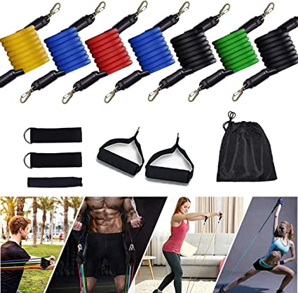 Home Workout Yoga Johiux 11 Pack Resistance Bands Set Portable Home Gym Accessories Including 5 Stackable Exercise Bands with Handles Perfect for Resistance Training Physical Therapy Pilates