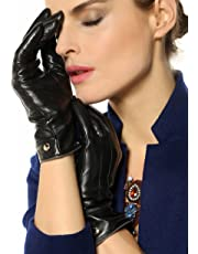 Elma Womens Touchscreen Texting Winter Driving Nappa Leather Gloves Pure Cashmere Warm Lining Black 7.5