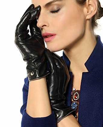 8120a9639e Elma Womens Touchscreen Texting Winter Driving Nappa Leather Gloves Pure  Cashmere Warm Lining (6.5