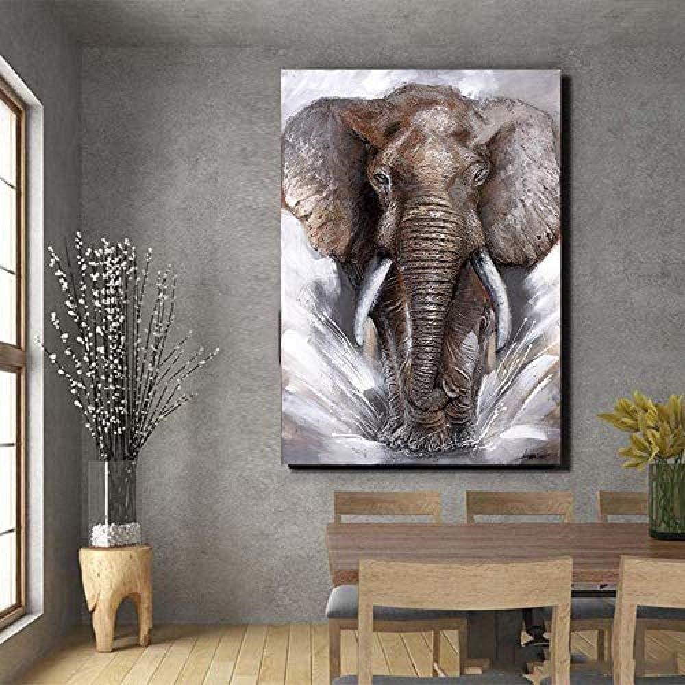 QLCUY Cuadro en Lienzo Druck Auf Leinwand Aquarell Elefant Tiermalerei Wandkunst Bilder Drucken Cartel para Wohnzimmer Moderne Bunte Kunst
