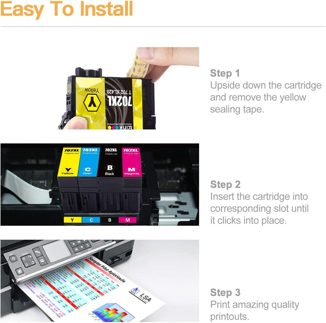 Remanufactured Ink Cartridge Replacement for Epson 702XL T702XL 702 T702 to use with Workforce Pro WF-3720 WF-3730 WF-3733 Printer E-Z Ink TM 1 Large Black, 1 Cyan, 1 Magenta, 1 Yellow, 4 Pack