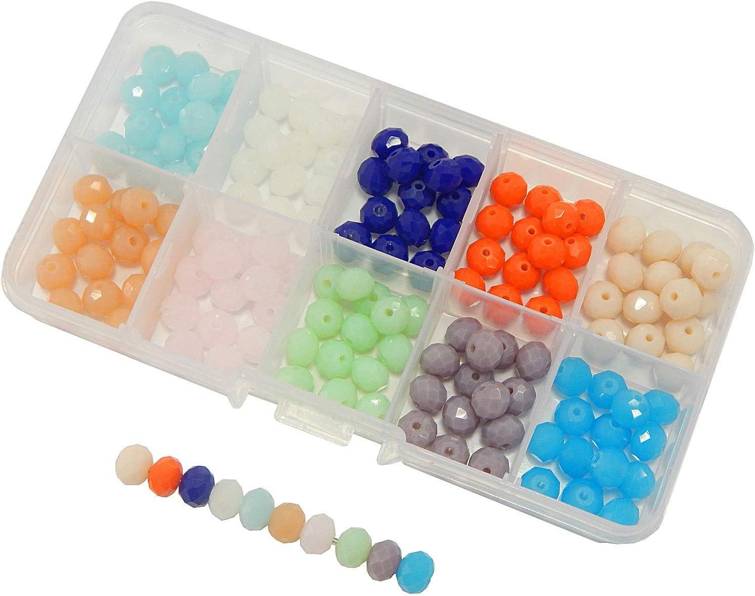 Juego de 150 perlas de jade de 8 x 6 mm con caja de clasificación, piedras preciosas, piedras semipreciosas, 10 colores, redondas facetadas para pulseras, collares, manualidades, joyas de colores