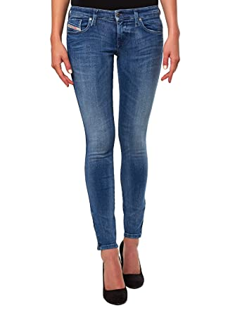 86ddb62eac539f Diesel Skinzee-Low-Zip 0843H Damen Jeans Hose Skinny Super Slim (Blau