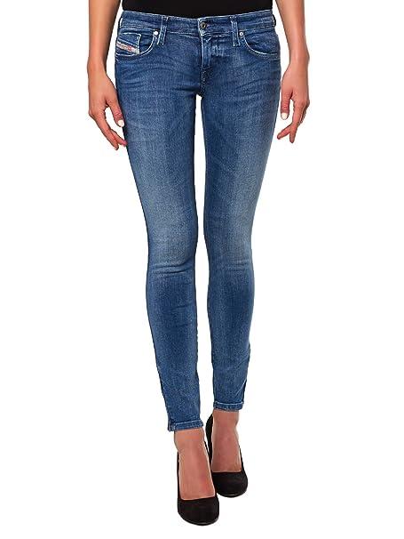Diesel Skinzee-Low-Zip 0843H Jeans da donna Skinny Super Slim (Blu,