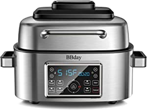 BBday 10-in-1 6.5-qt. Air Fryer, Roast, Bake, Dehydrate, Indoor Smokeless Electric Grill