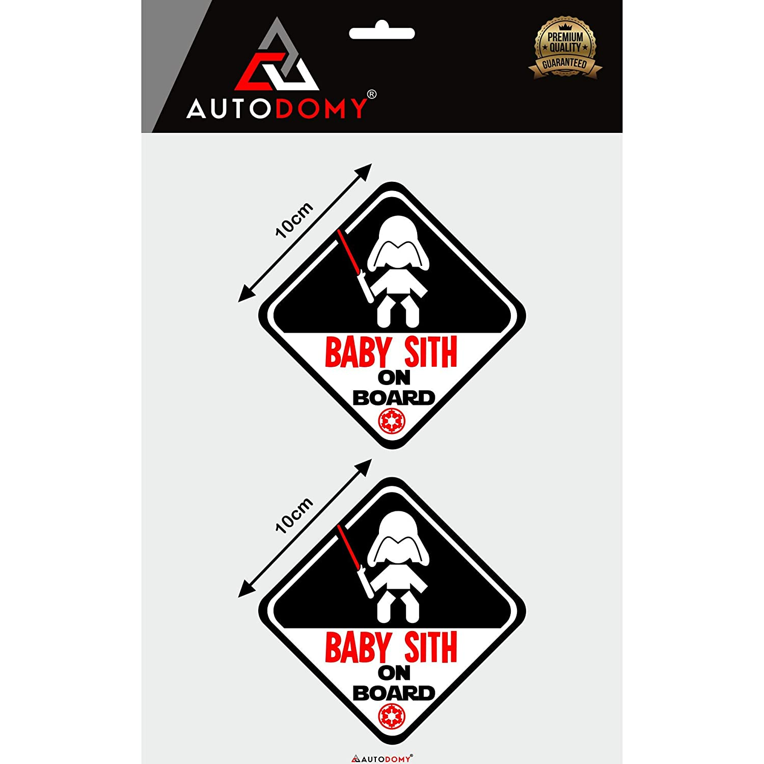 Autodomy Pegatinas Baby Sith Star Wars Baby On Board Beb/é a Bordo Baby in Car Pack 2 Unidades para Coche Uso Externo