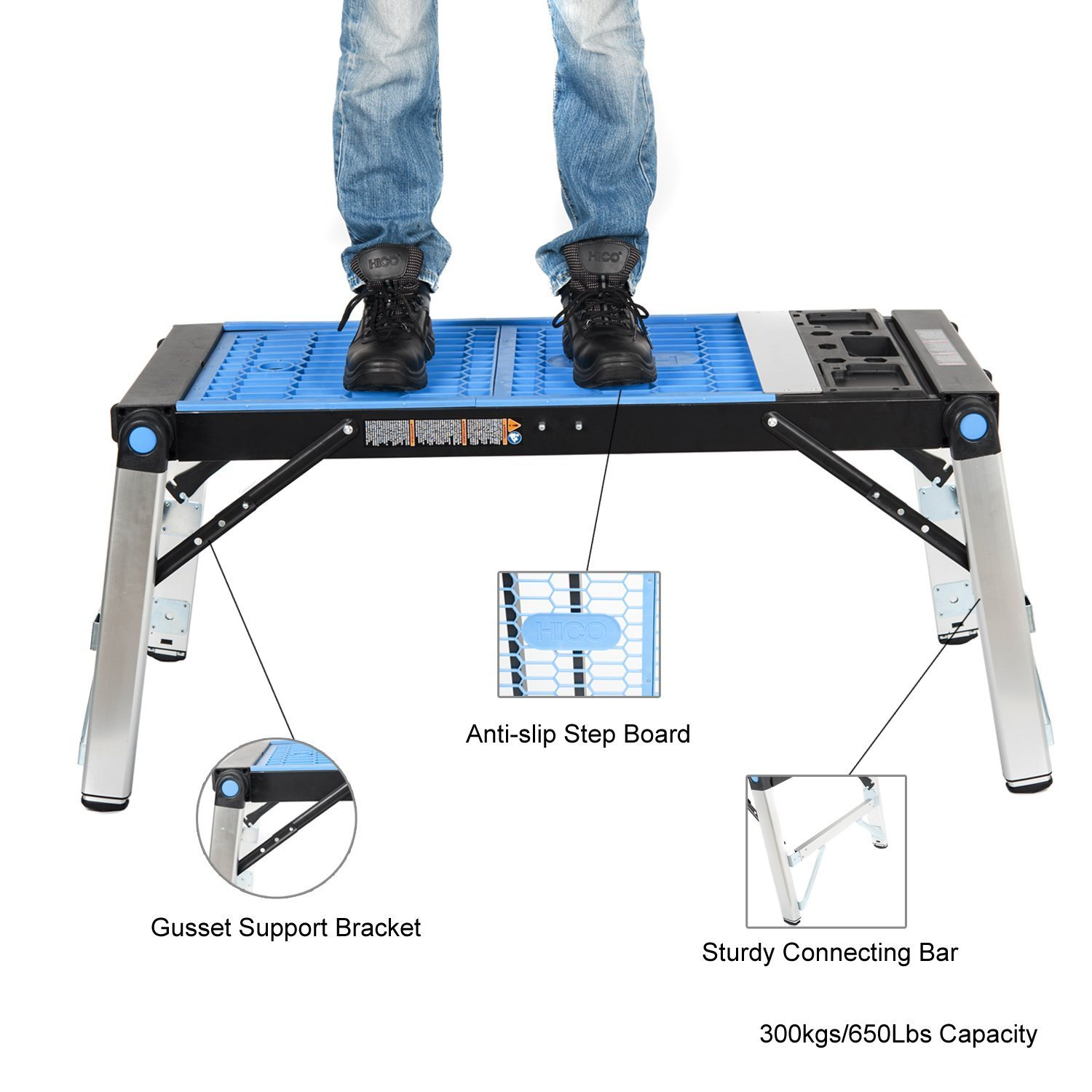 HICO WIS03-B 3-in-1 Multi-Function Universal Capacity Portable Folding Work Table for Workbench Scaffold Platform and Creeper Carrier by HICO (Image #4)