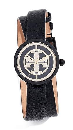 a3224cd37 Amazon.com: Tory Burch Women's Reva Leather Watch, 28mm, Black, One ...
