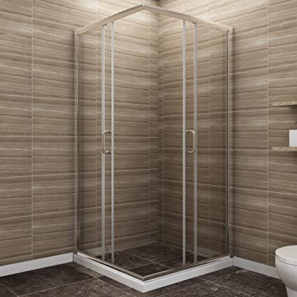 Sunny Shower Corner Shower Enclosure 1 4 In Clear Glass Double Sliding Shower Doors 36 In X 36 In X 72 In Bath Door Chrome Finish Shower Base