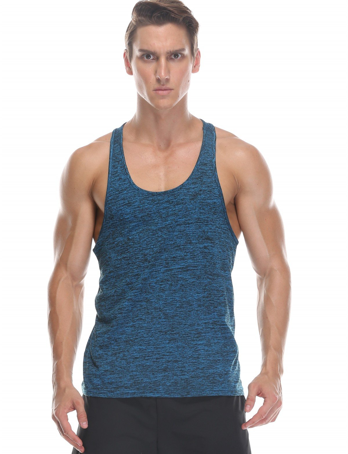 0768d23062422 Men s Muscle Gym Workout Tank Tops Vest Compression Sleeveless Tshirt for  Men