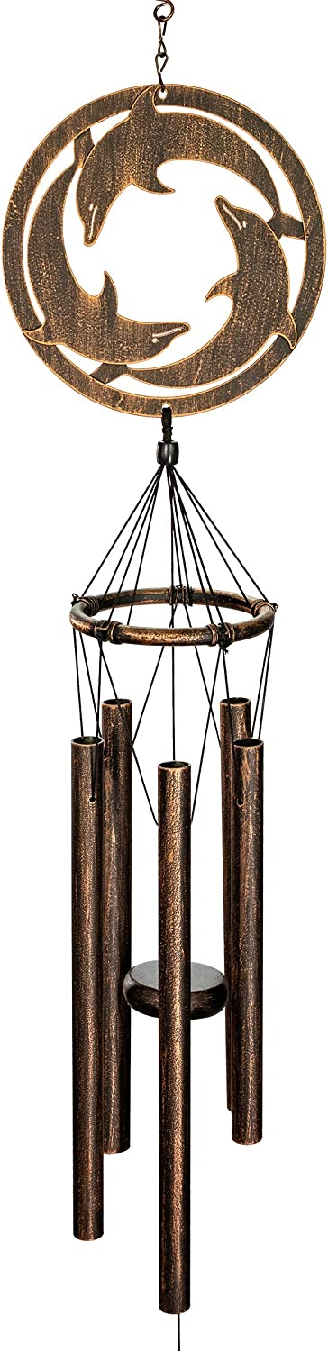 VP Home Triadic Dolphins Outdoor Garden Decor Wind Chime (Rustic Copper)