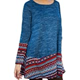 Chnli Women Autumn Spring Blouse Long Sleeve Splice Casual Loose Dress Pullover Sweater