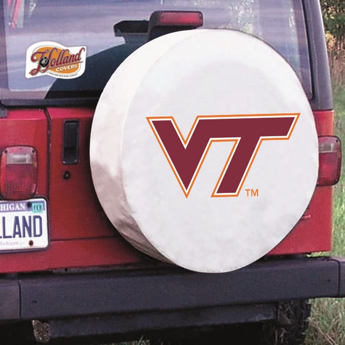 Virginia Tech Hokies HBS White Vinyl Fitted Spare Car Tire Cover Holland Bar Stool Co