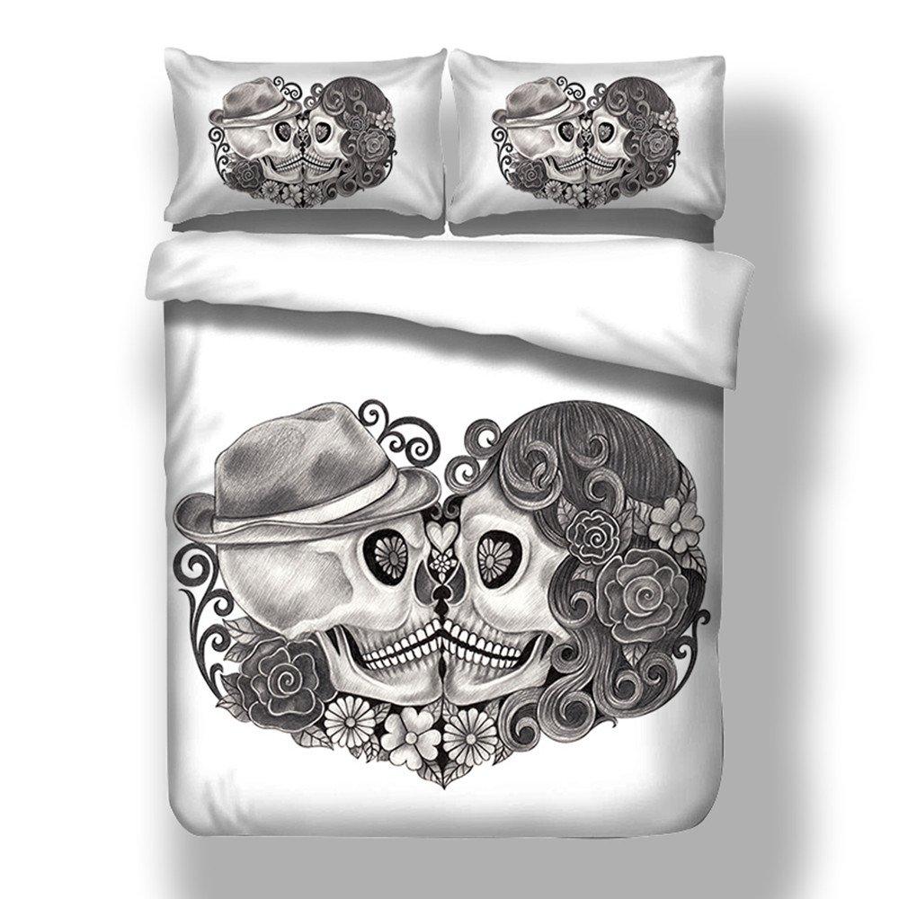Bettwäsche Set 3D Liebhaber Skull Weißer Hintergrund Schwarz Schädel Kissing Bettbezug mit Kissenbezug Einzelbett Doppelbett King Size (150x200cm) Stillshine