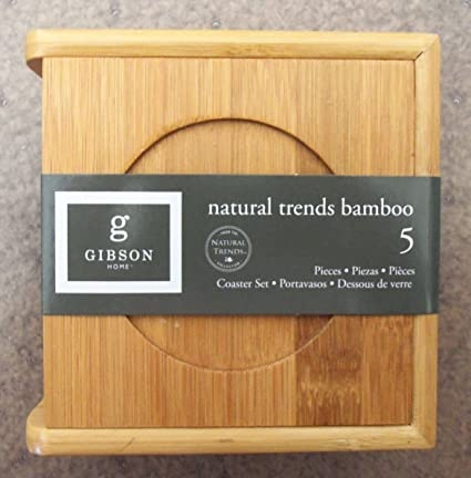 Gibson Home Natural Trends Bamboo 5 Piece Coaster Set