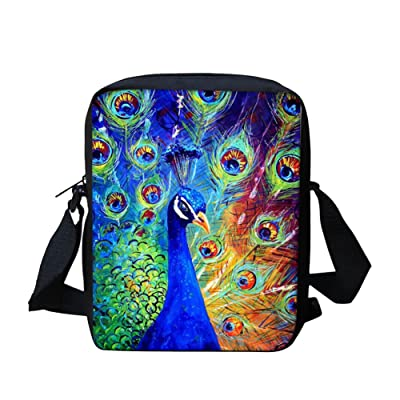 Anti Theft Peacock Messenger Bags for Teens Travel Organizing Phone, Tablet, Book