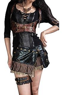 463d694502 HaoLin Steampunk VTG Victorian Punk Cincher Lace up Rivet Pocket Shoolgirl  Mini Skirt