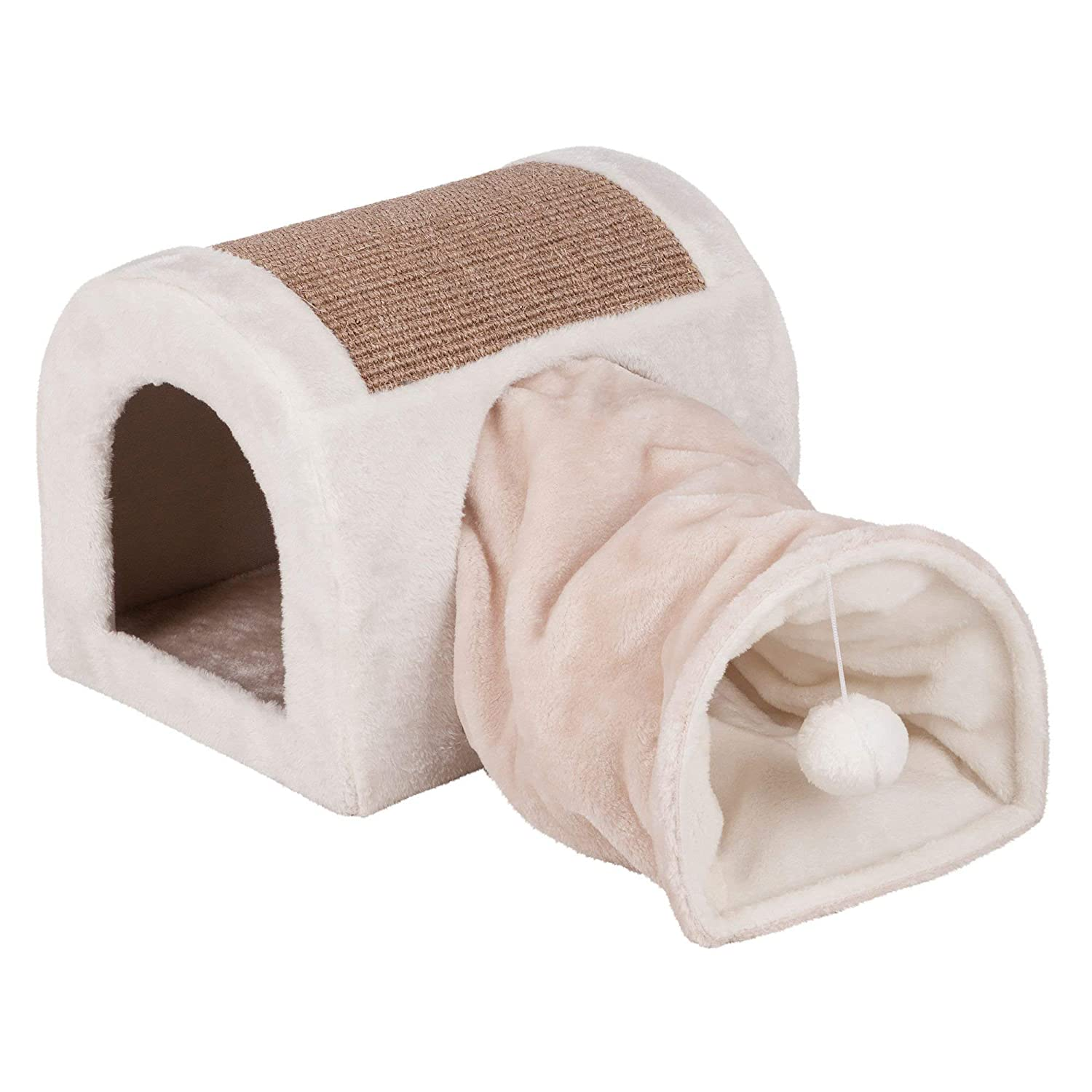 Trixie Ladina Cat Bed with Play Tunnel 32 x 32 x 40 cm Light Grey and Taupe