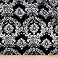 Charmeuse Satin Old Damask Black/White Fabric By The Yard