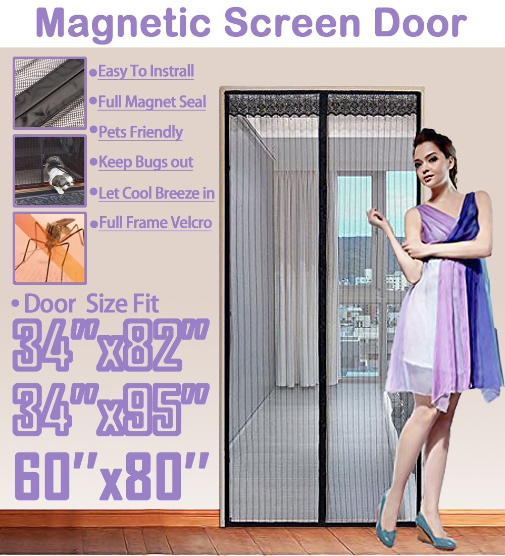 TheFitLife 62''x81'' Magnetic Screen Door Fits Doors up to 60''x80'' Max Full Frame Velcro Heavy Duty Mesh