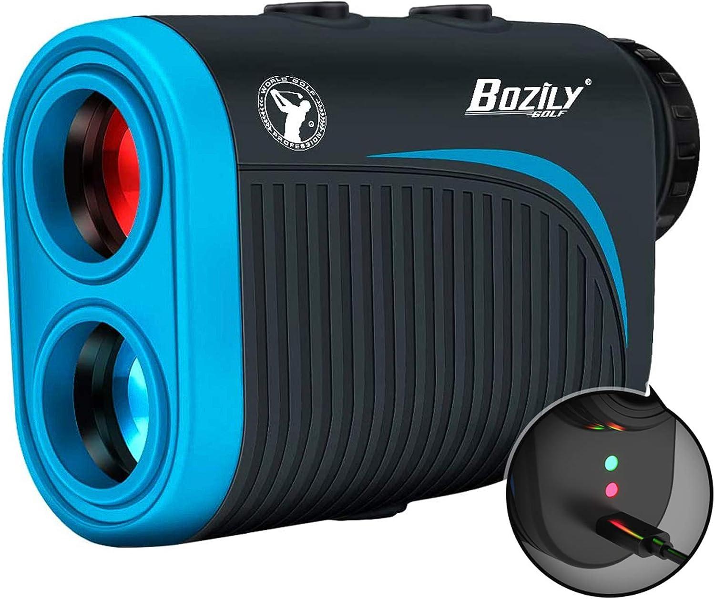 Bozily Golf Rangefinder, 6X Rechargeable Laser Range Finder 1200 Yards with Slope ON/Off
