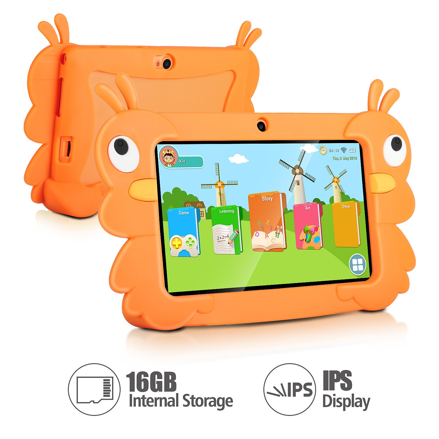 7 Inch Kids Tablet PC Quad Core 1024x600 IPS Eye Protect Display 1GB RAM 16GB Storage Bluetooth WiFi Dual Camera with Kids Educational Software Parental Control (Orange) by TOPELOTEK