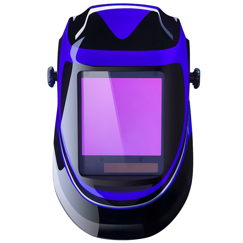 Solar Powered Welding Helmet Auto Darkening Professional Hood with Wide Lens Adjustable Shade Range 4/9-13 for Mig Tig Arc Weld Grinding Welder Mask by DEKOPRO