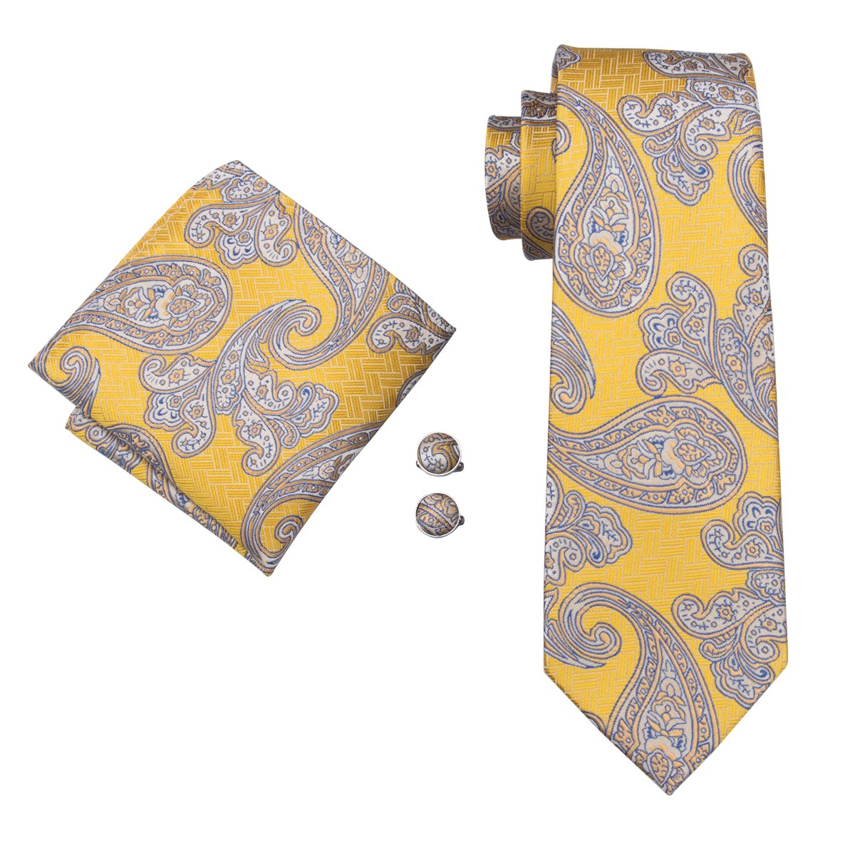 Hi-Tie Classic Gold Champagne Tie Pocket Square and Cufflinks Gift Box set Woven Silk Wedding Necktie