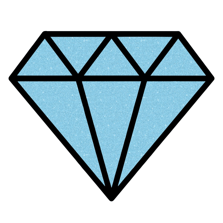 Diamond Outline Sparkle Blue Glitter Sticker 5