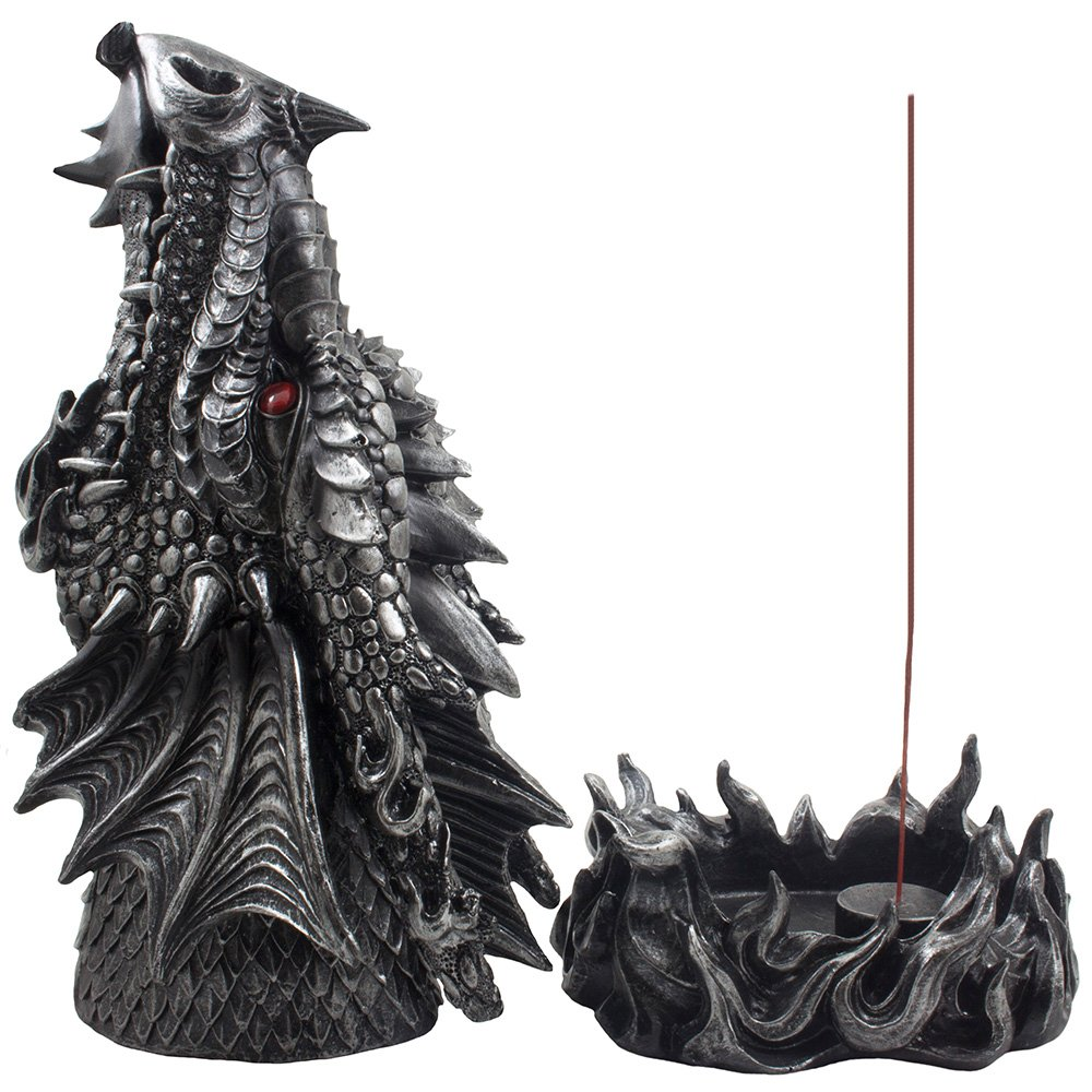 Mythical Fire Breathing Dragon Incense Holder & Burner Combo Statue for Sticks or Cones with Decorative Display Stand of Flames As Gothic Home Decor Aromatherapy Sculptures and Medieval Fantasy Gifts by Home 'n Gifts