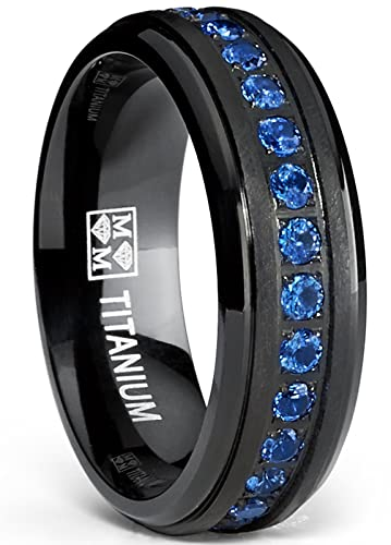 Black Titanium Mens Eternity Ring Band With Deep Blue Cubic