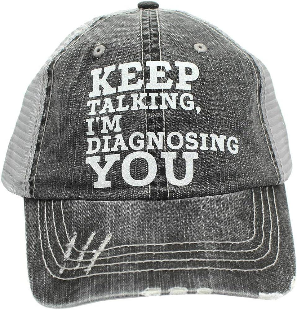 R2N fashions Keep Talking, I'm Diagnosing You Women's Trucker Hats & Caps Black/Grey