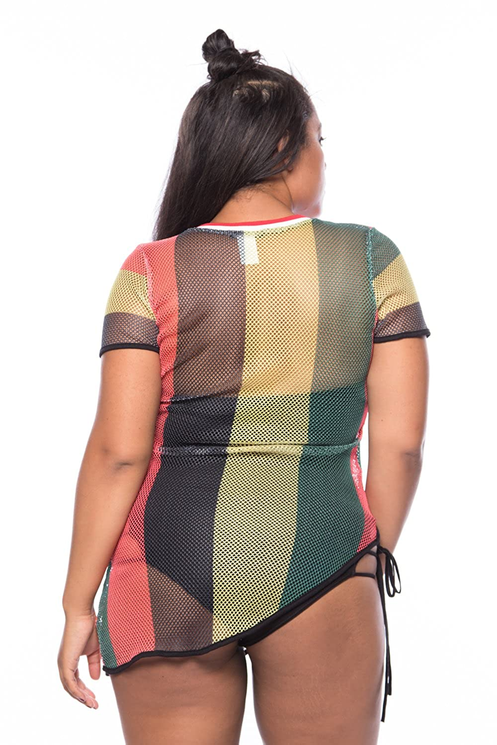 034ac4edd1 GENx Womens Plus Size Fishnet Rasta Jamaica Bikini Cover Up Tunic Top  TK2429 (XL, Multi): Amazon.ca: Clothing & Accessories