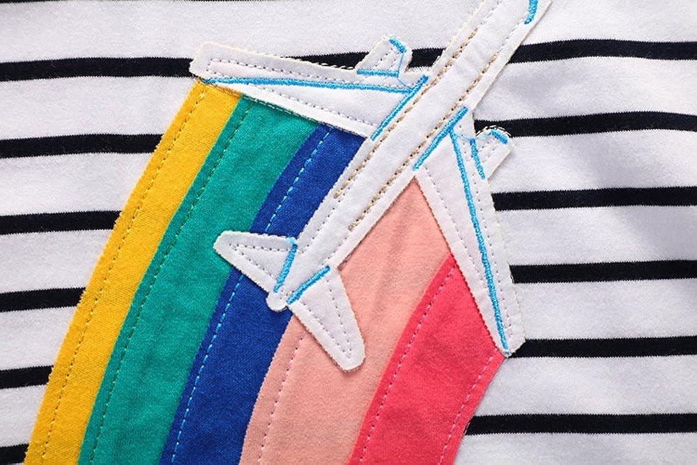 GT GOLD TREASURE Girls Playwear Dress Cotton Nightgowns Short Sleeve Sleepwear with Cartoon Plane for 1-6 Years