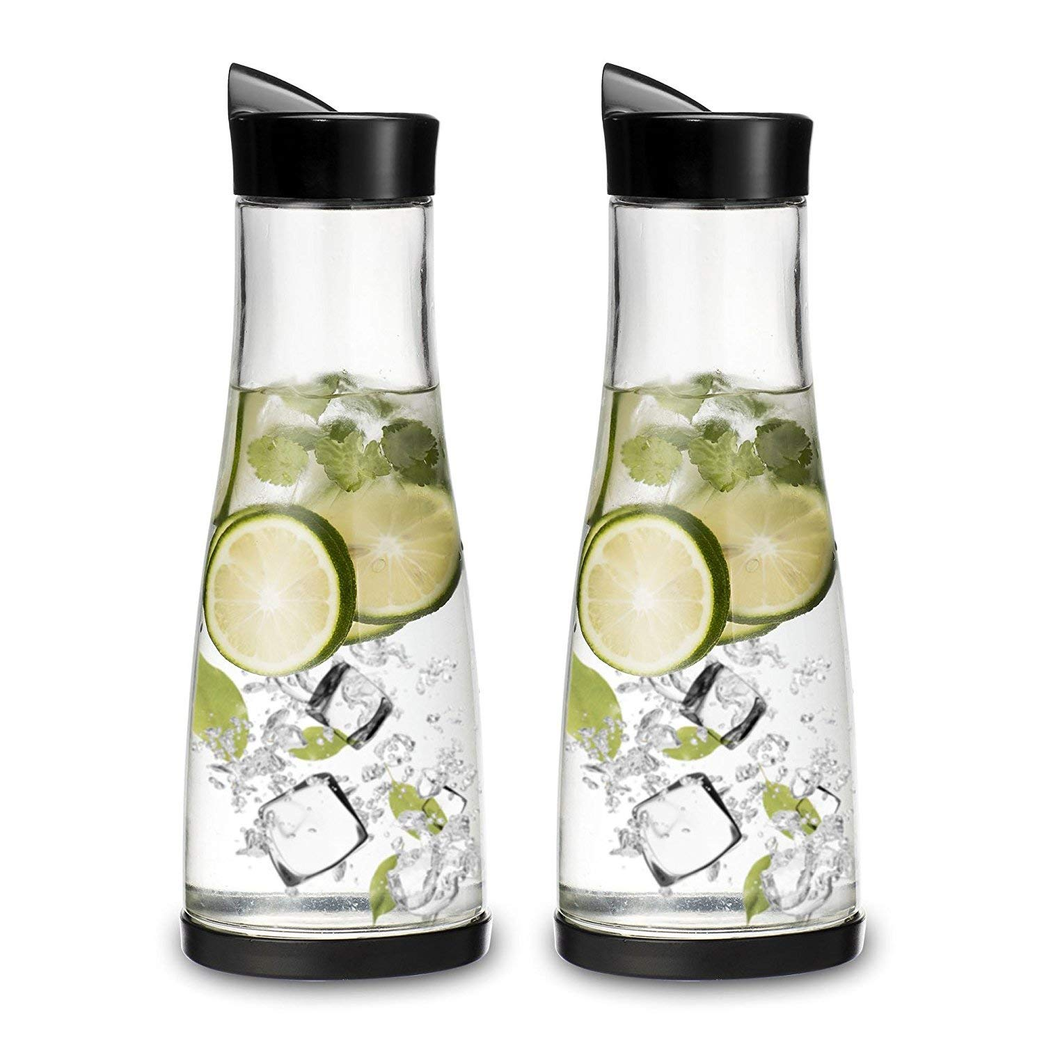 Chefoh Glass Water Carafe With Lid And Protective Base, EZ Pour Drip Spout 1 Liter/ 33.8 Oz, Fridge Water Pitcher Bottle Dispenser, Great For Juice, Lemonade, Iced Tea, Milk, Wine (2)