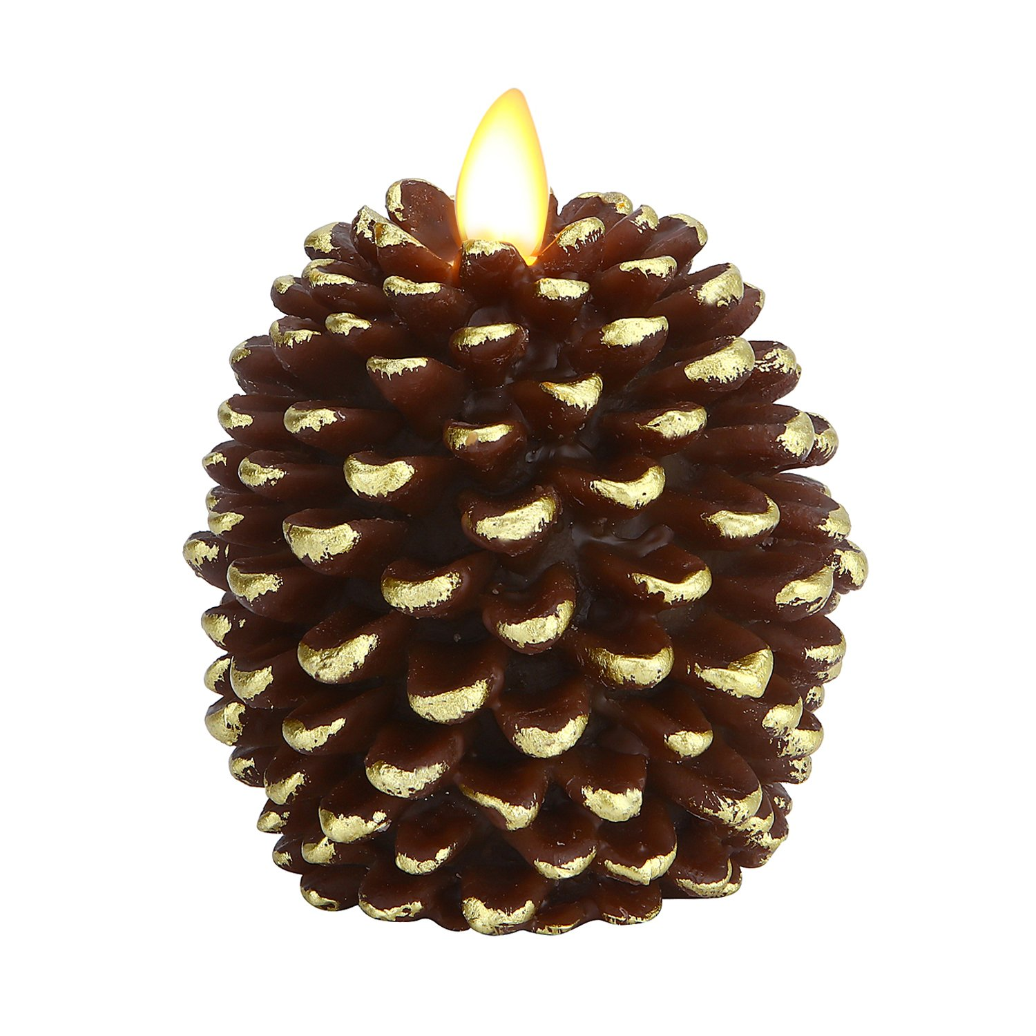 Ksperway Pinecone Unscented Wax Battery Operated Flameless Candle with Moving Wick and Timer 3.4'' x 4.1'' (Brown)