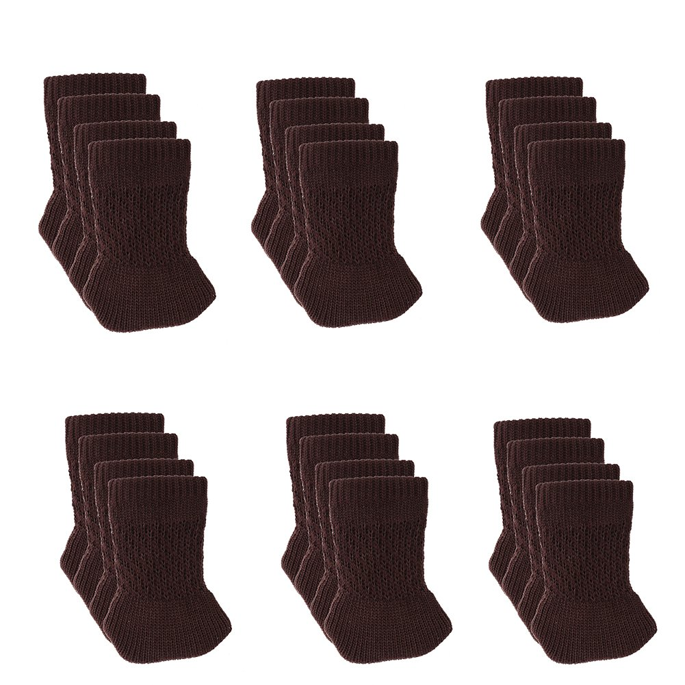 24 PCS Chair Leg Socks Knitted Furniture Socks Chair,Floor Protectors for Avoid Scratches Furniture Pads for Moving Easily and Reduce Noise (Dark Coffee)