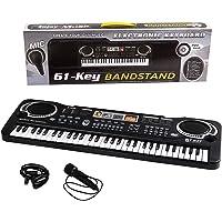 Soleiler Piano Infantil, 61 Teclas Piano Teclado Infantil Juguete con Micrófono, Variedad Sonidos Karaoke Rítmos Melodias Modo, Música Regalo Educativo Divertido para niños(Negro)