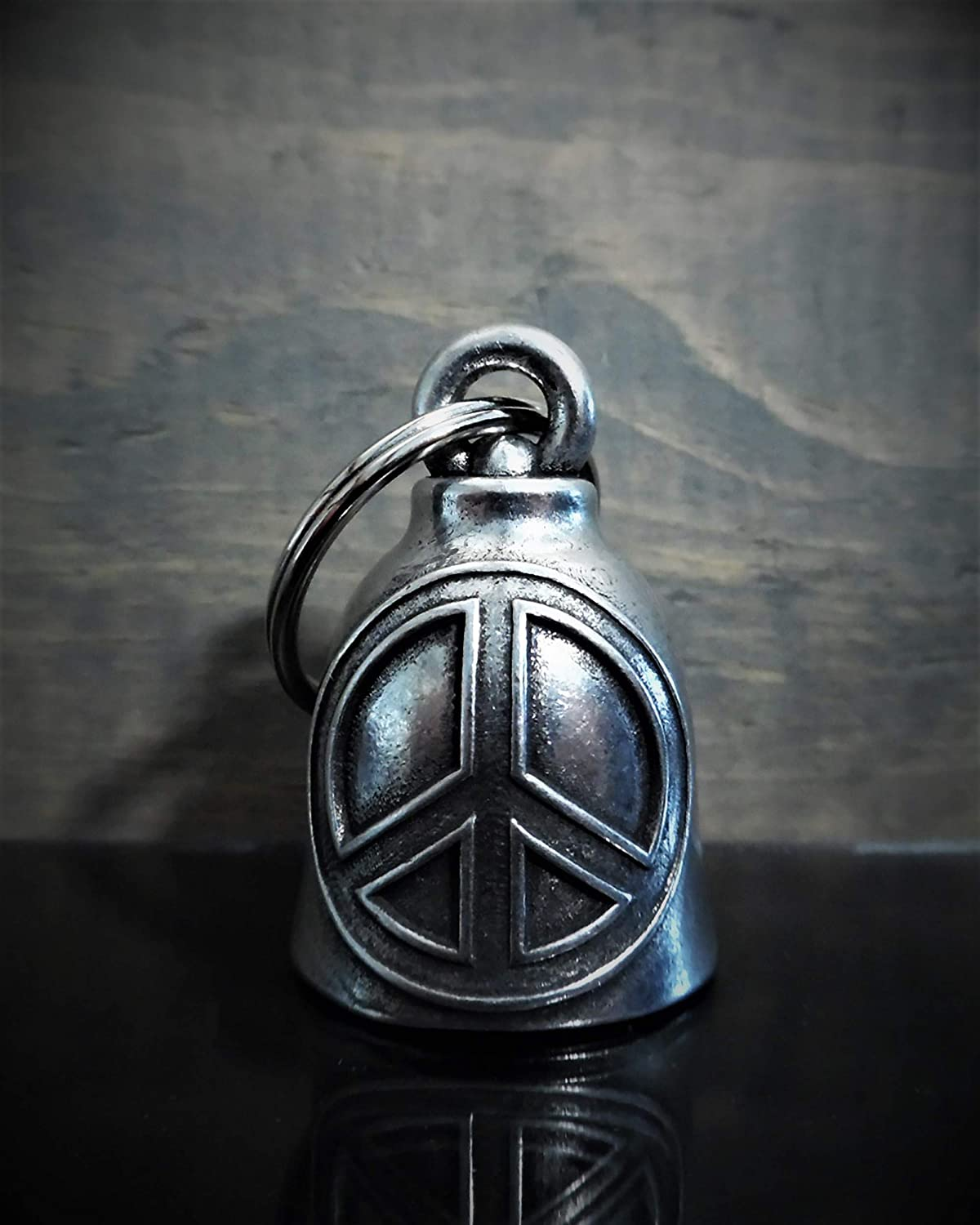 Peace Sign Motorcycle Biker Bell Accessory or Key Chain for Luck