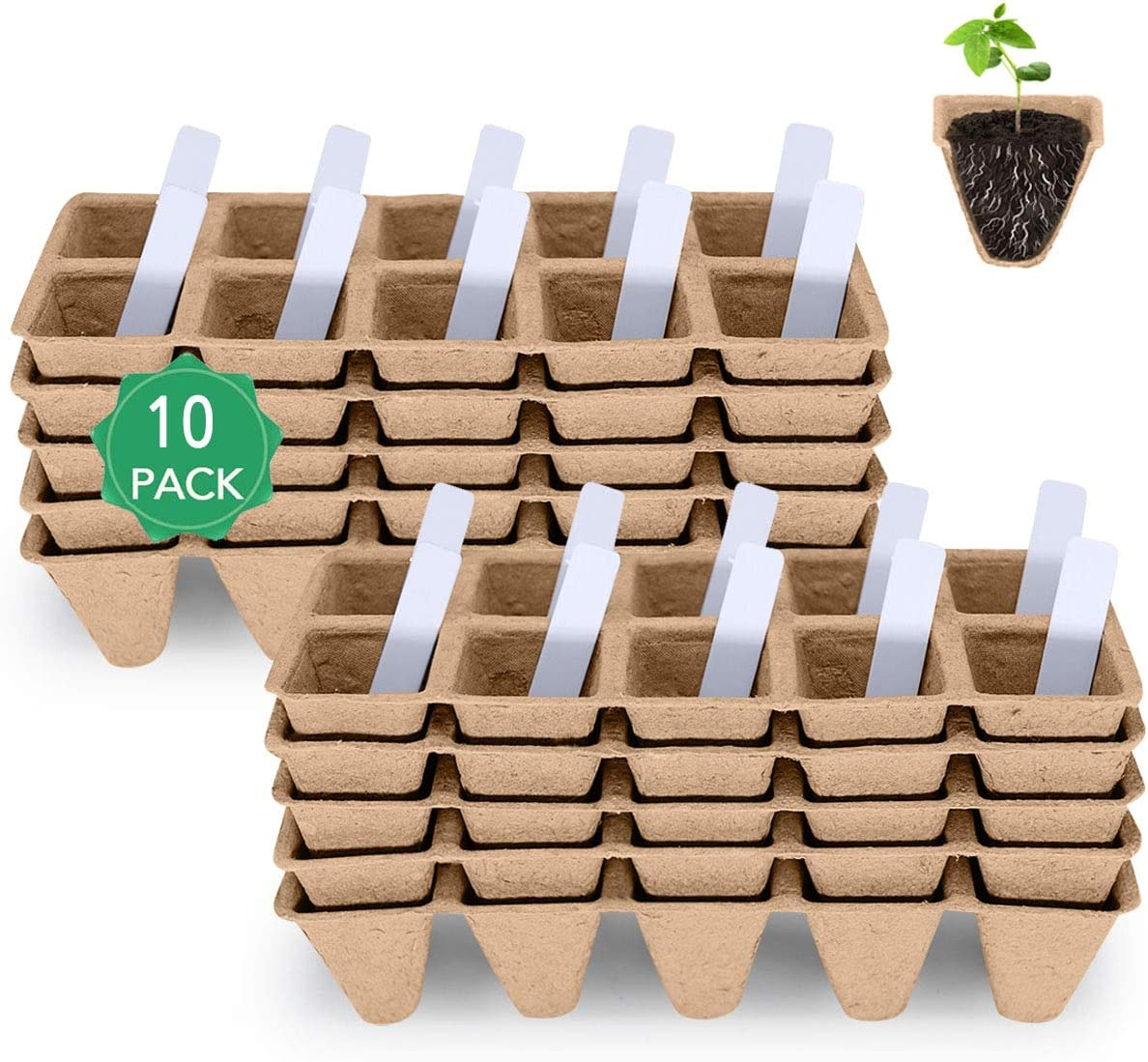 MacCoya Seed Starter Tray, Seedling Starter Peat Pots Kits, Biodegradable Compostable Planting Pots for Vegetable Fruit Flower, Indoor Outdoor & Organic Garden, 100 Cells Plus 20 Plant Labels