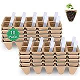 Bandeja para iniciar semillas, kit de macetas de turba, biodegradables compostables para flores de frutas vegetales, interior