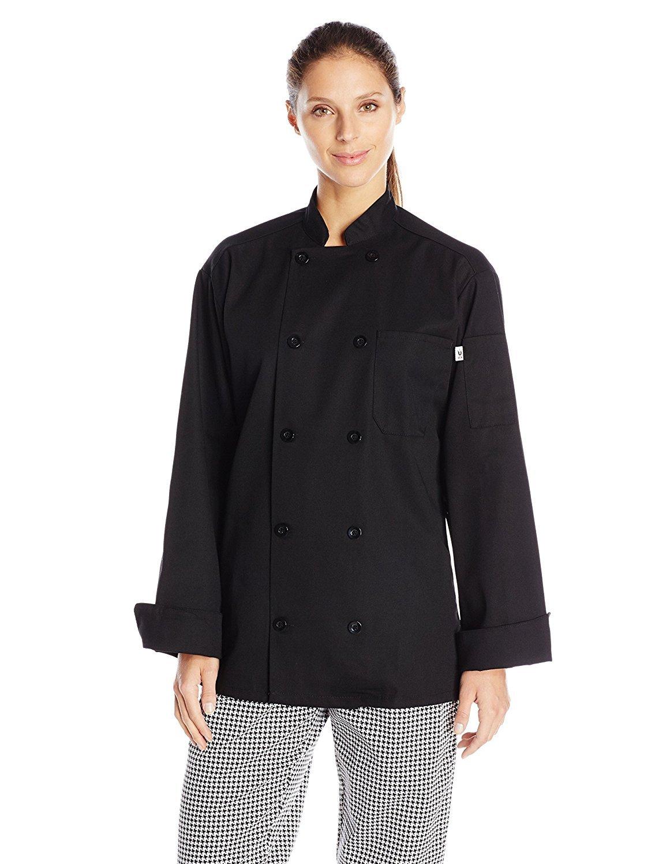 Uncommon Threads Unisex Classic 10 Button Chef Coat, Black, X-Small